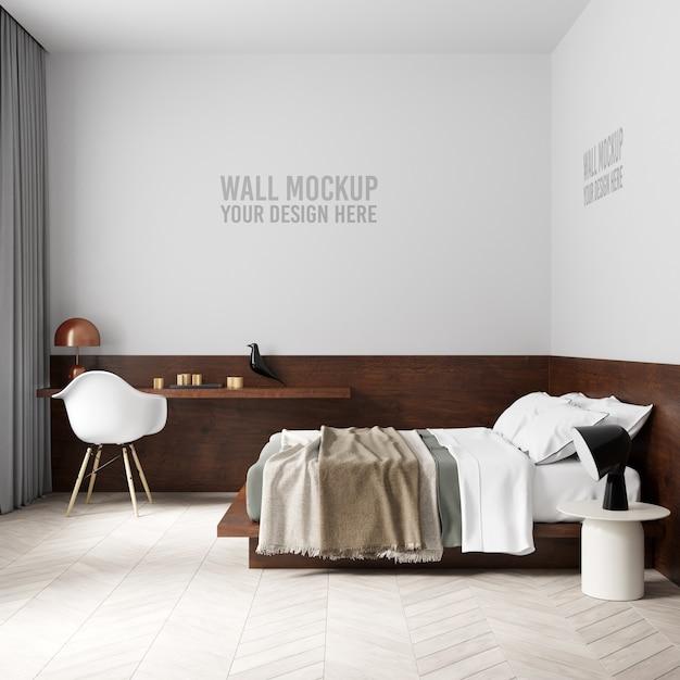 Maqueta de pared de dormitorio interior PSD Premium