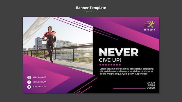 Maqueta de plantilla de banner de concepto de deporte y tecnología PSD gratuito