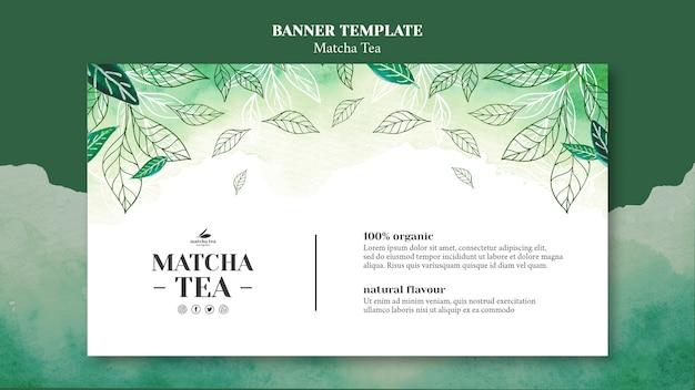 Maqueta de plantilla de banner de concepto de té matcha PSD gratuito