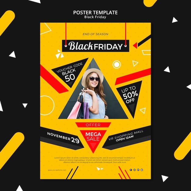 Maqueta de plantilla de póster de viernes negro PSD gratuito