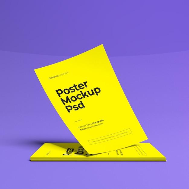 Maqueta de póster de tamaño a4 PSD Premium