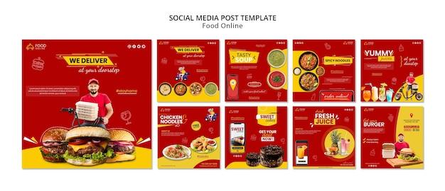 Maqueta de publicación de redes sociales de concepto de comida en línea PSD gratuito