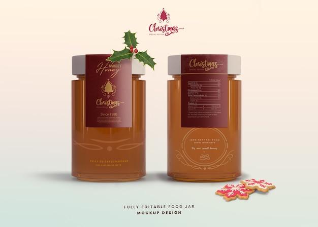 Maqueta realista 3d para tarro de miel de vidrio de edición especial navideña PSD Premium