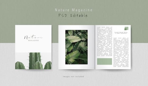 Maqueta de la revista editorial de la vista frontal y de la parte interior PSD gratuito