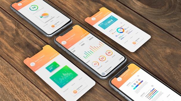 Maqueta de smartphones para apps PSD gratuito