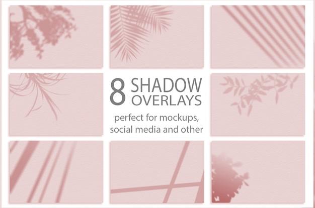 Maqueta de sombras. fondo de verano de las hojas de la rama de las sombras. para superponer una foto o maqueta. establecer 8 sombras PSD Premium