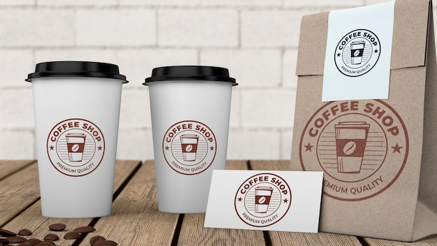 Maqueta stationery para cafetería PSD gratuito
