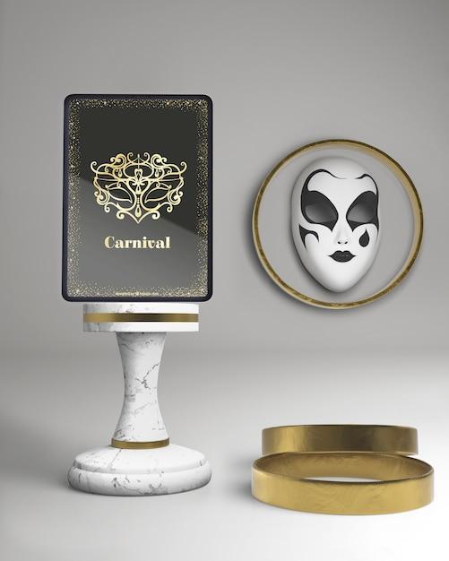 Maqueta de tableta digital con evento de póster de carnaval enmascarado PSD gratuito