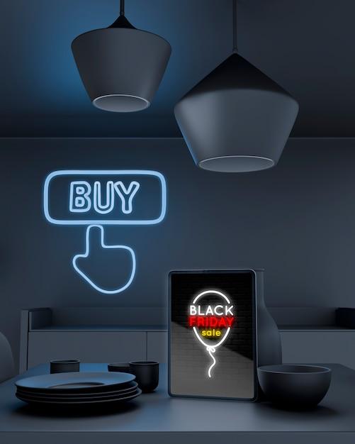 Maqueta de tableta en la mesa con luces de neón azules PSD gratuito