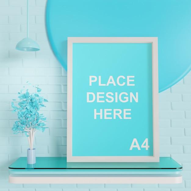 Maqueta de tamaño de marco a4 con paleta azul PSD Premium