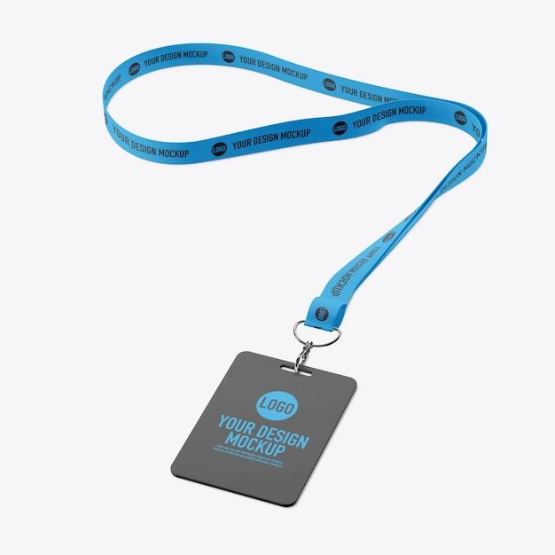 Maqueta de tarjeta de identificación y cordón aislado PSD Premium