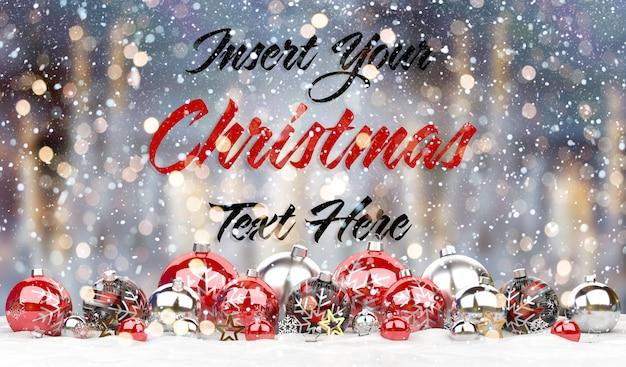 Maqueta de tarjeta de navidad con texto y adornos rojos en la nieve PSD Premium