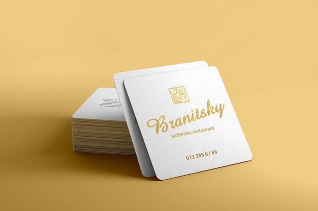 Maqueta de tarjeta de visita cuadrada de marca de lujo PSD Premium
