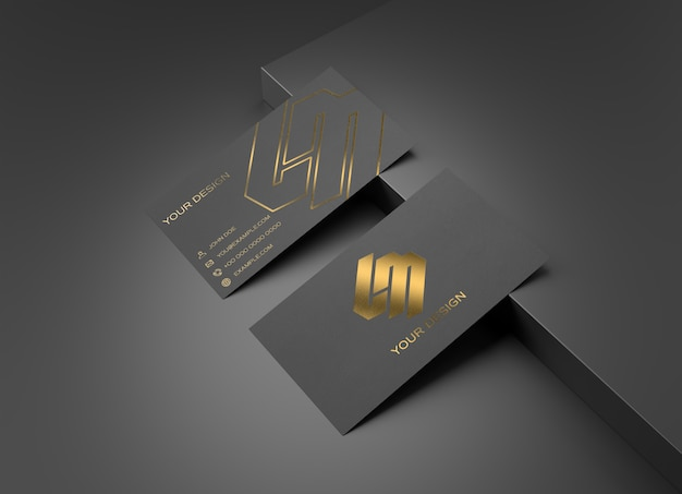 Maqueta de tarjeta de visita negra y dorada PSD Premium