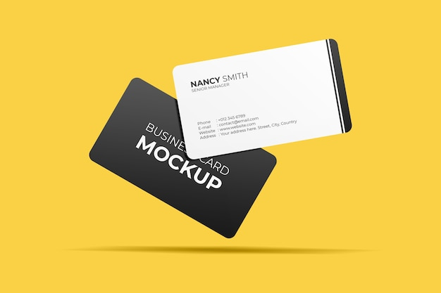 Maqueta de tarjetas de visita flotantes PSD Premium