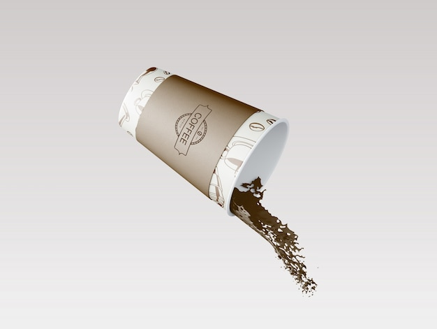 Maqueta de taza de café de papel PSD gratuito