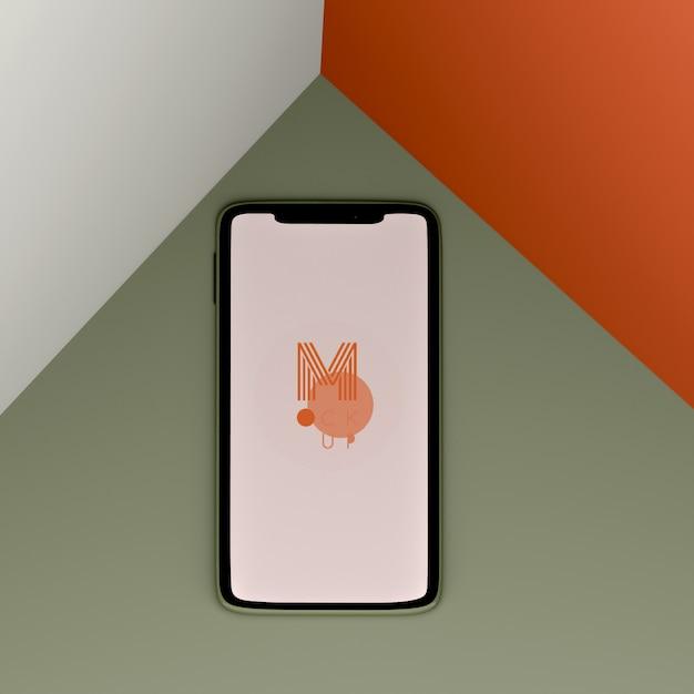 Maqueta de teléfono de tres colores PSD gratuito