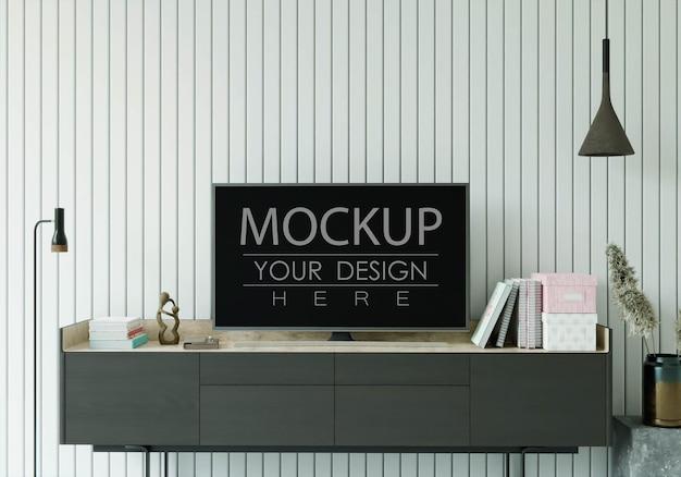 Maqueta de tv en la sala de estar PSD gratuito