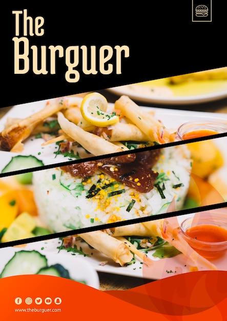 Maqueta para web con concepto de hamburguesa PSD gratuito