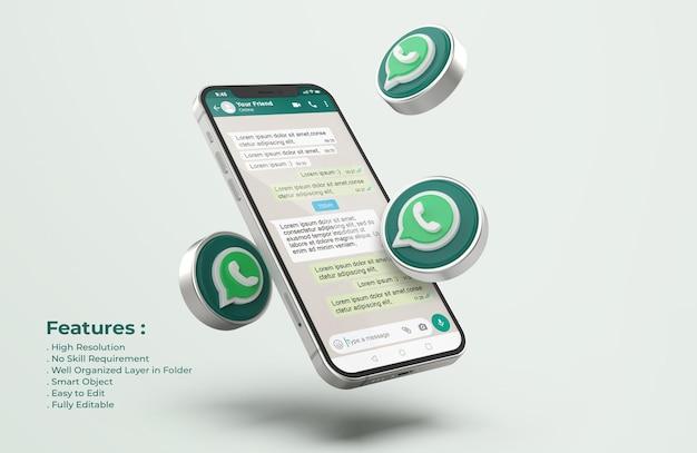 Maqueta de whatsapp en un teléfono móvil plateado PSD gratuito