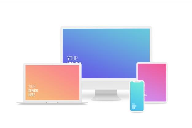 Maquetas de dispositivos receptivos. computadora, computadora portátil, teléfono inteligente, tableta PSD Premium