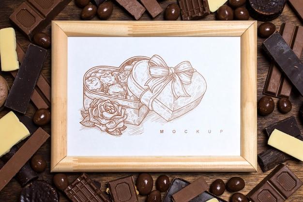 Maquete de quadro em fundo de chocolate Psd grátis