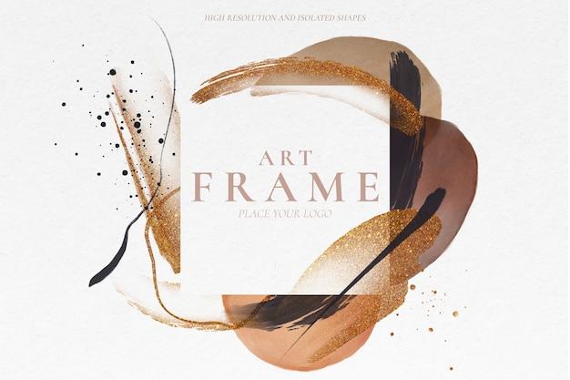 Marco artístico con elegantes formas pintadas PSD gratuito