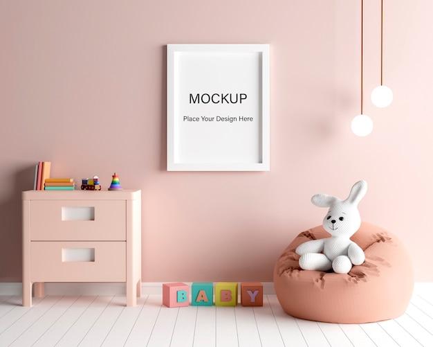 Marco de cartel de maqueta con lindo conejo para una representación 3d de baby shower de niña PSD Premium