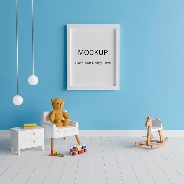 Marco de cartel de maqueta con lindo oso de peluche para una representación 3d de baby shower de niño PSD Premium