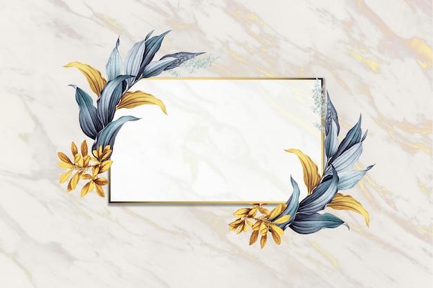 Marco floral en blanco PSD gratuito