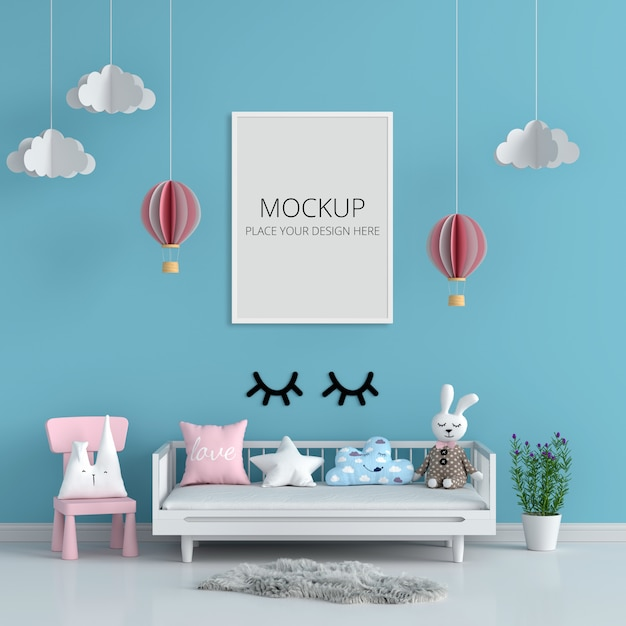 Marco de fotos en blanco para maqueta en habitación infantil azul PSD Premium