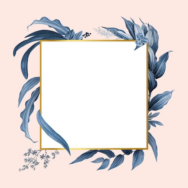 Marco vacío con diseño de hojas azules PSD gratuito