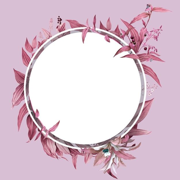 Marco vacío con diseño de hojas rosadas PSD gratuito