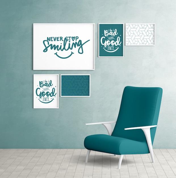 Marcos de pared de maqueta con silla de dormitorio PSD gratuito
