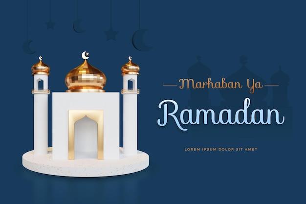 Marhaban ya ramadan-ontwerp met 3d-rendering mockup Premium Psd