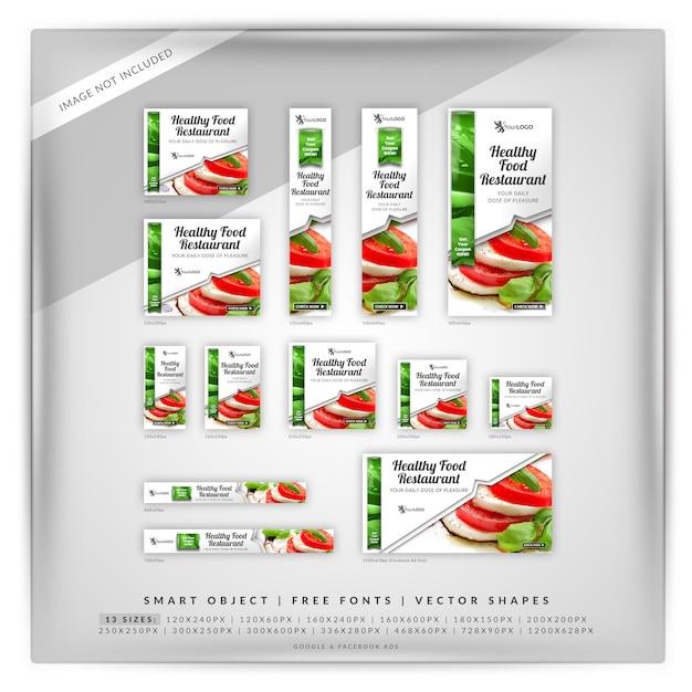 Marketing de alimentos google y anuncios de facebook PSD Premium
