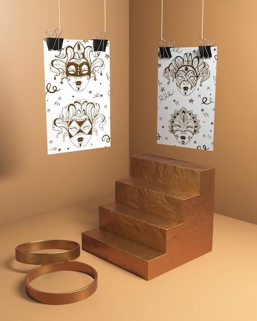 Máscaras de bocetos con escaleras y anillos dorados PSD gratuito