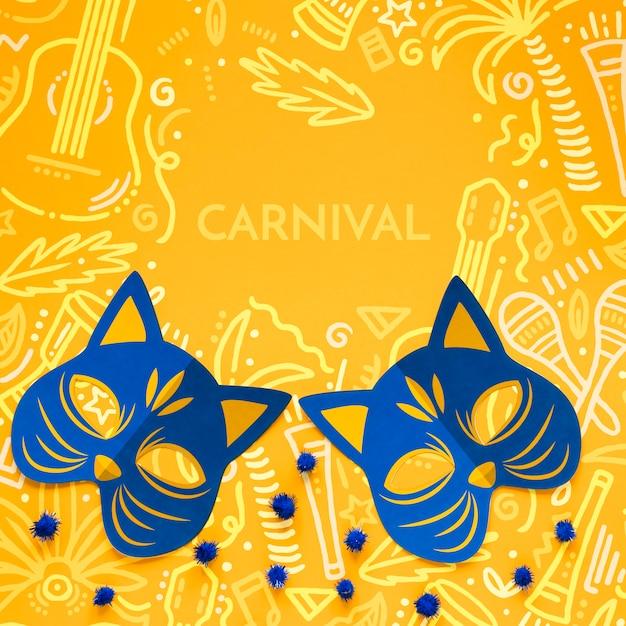 Máscaras de gato de carnaval con pompones PSD gratuito