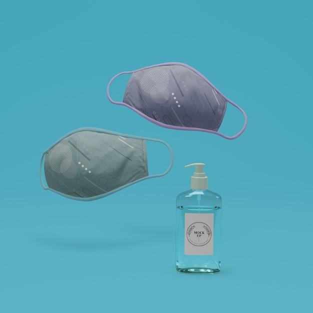 Maschere fatte a mano e disinfettante per le mani con mock-up Psd Gratuite