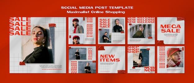 Massimista shopping online modello di post sui social media Psd Gratuite