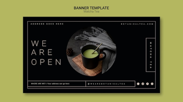 Matcha thee banner sjabloon concept Gratis Psd