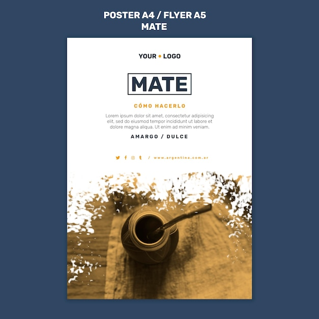 Mate concept flyer-sjabloon Gratis Psd