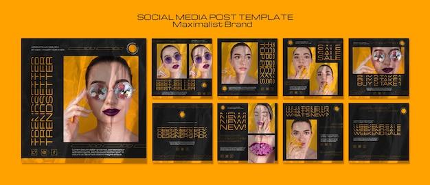 Maximalistische trendsetter voor sociale media Gratis Psd