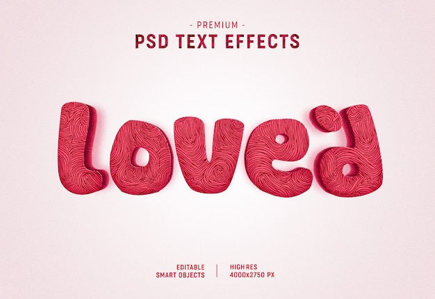 Me encantó el efecto de estilo de texto de san valentín en blanco PSD Premium