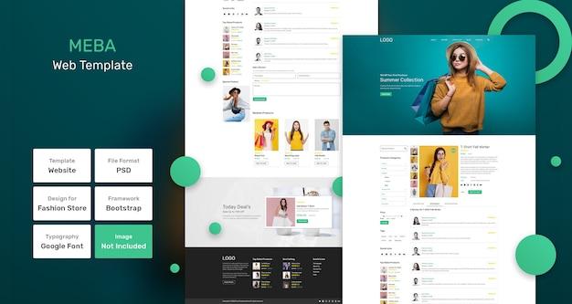 Meba modewinkel websjabloon Premium Psd