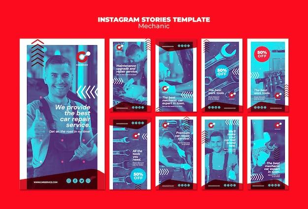 Mechanische instagram verhalen sjabloon Gratis Psd
