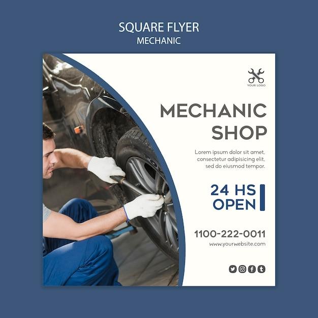 Mechanische sjabloon vierkante flyer Gratis Psd