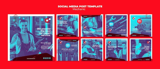 Mechanische social media postsjabloon Premium Psd