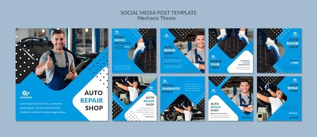 Mechanische werknemer in post van showroom de sociale media Premium Psd