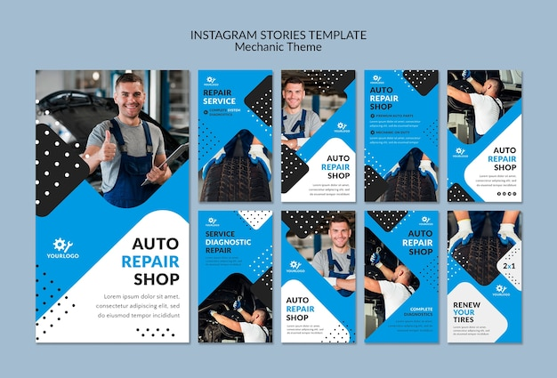 Mechanische werknemer in showroom instagramverhalen Gratis Psd